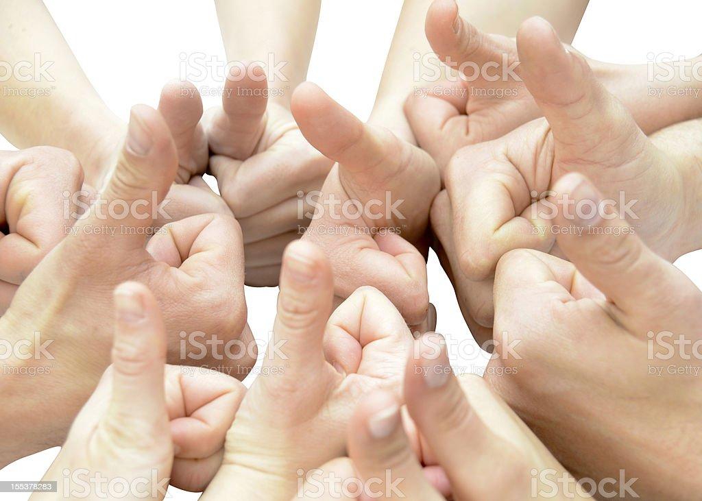 many thumbs up - viele Daumen nach oben stock photo