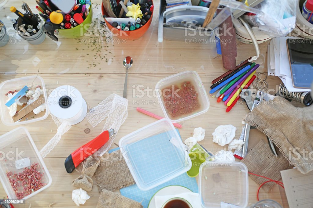 Many tools directly above on table stock photo
