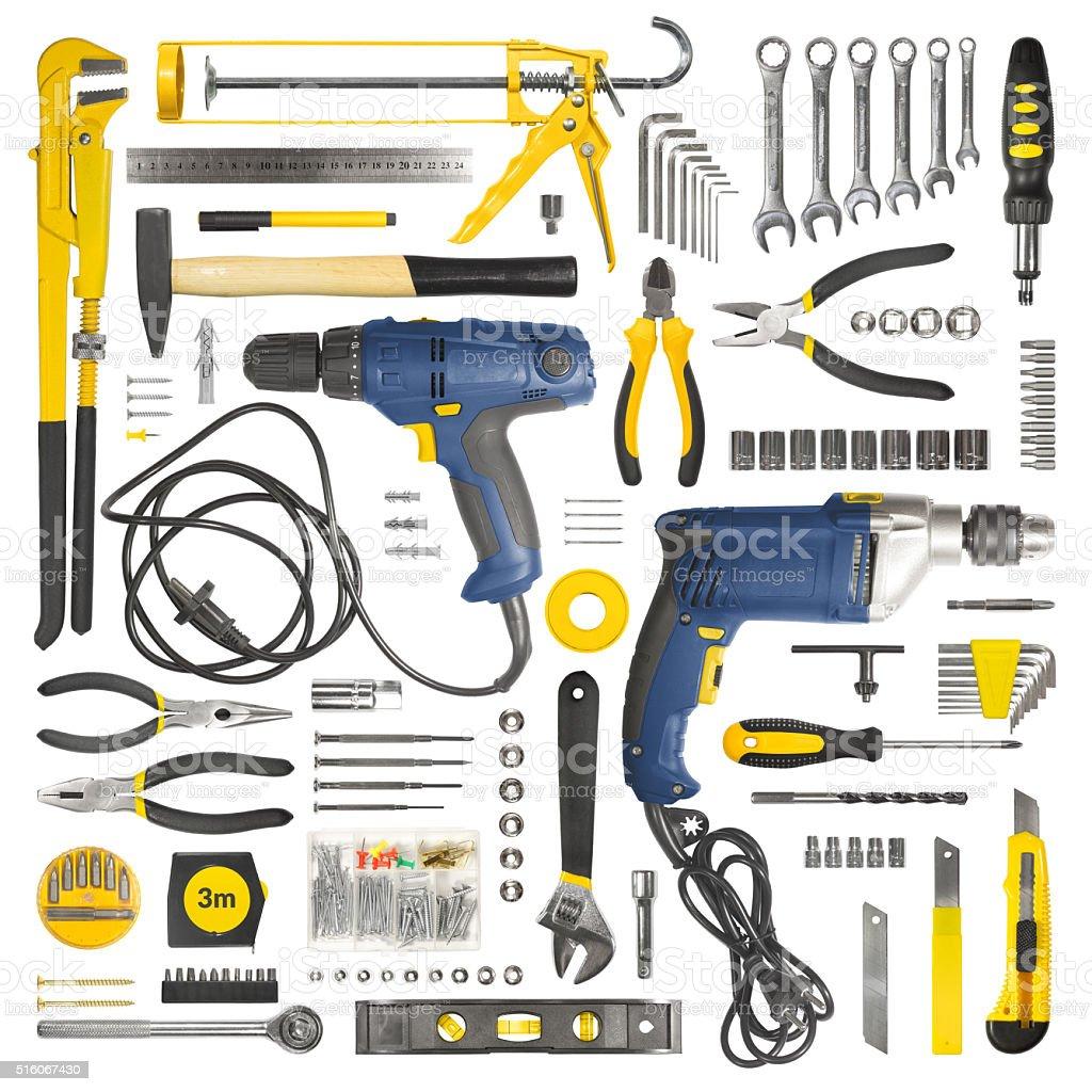 Many tools isolated on white background stock photo