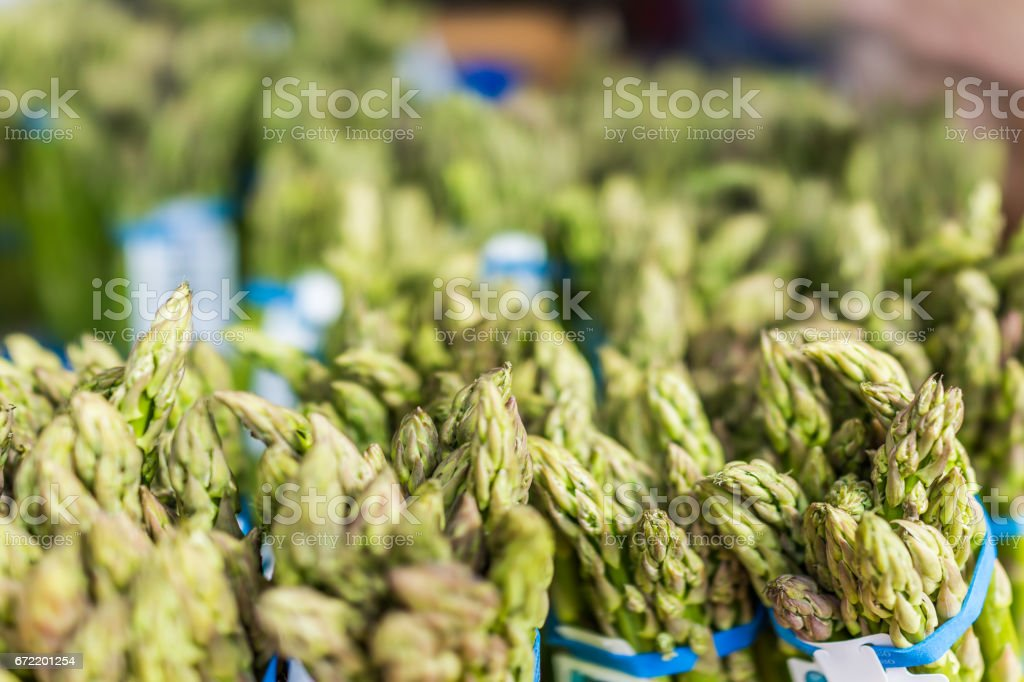 Many tops of asparagus bunches on display stock photo
