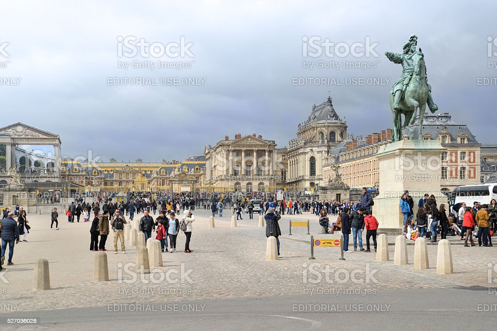 Many tourists at Versailles Palace, France stock photo