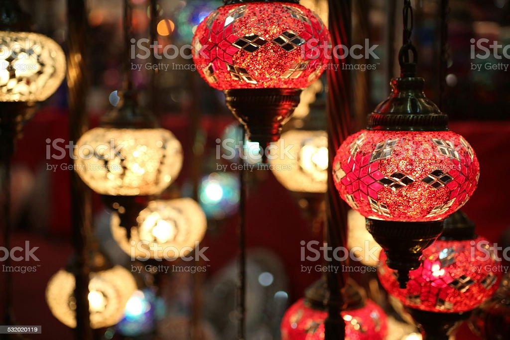 Many traditional oriental lamps hanged on ceiling stock photo