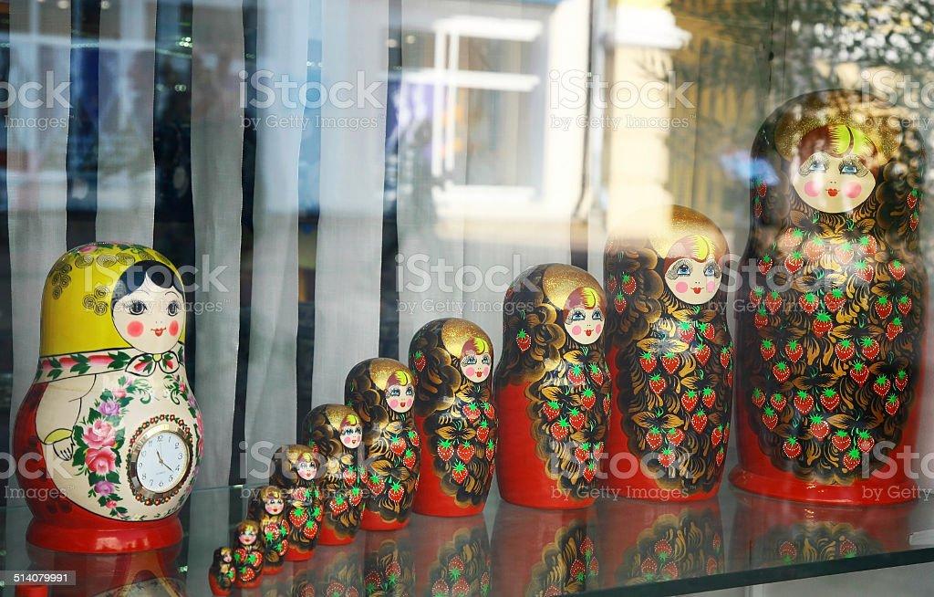 Many traditional Russian matryoshka dolls stock photo
