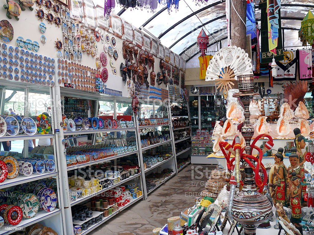 Many traditional souvenirs in Turkish tourist market, Side, Turkey royalty-free stock photo