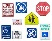 many traffic signs isolated over white