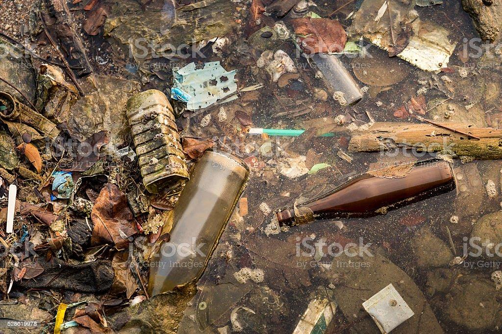 Many trashes in sea stock photo