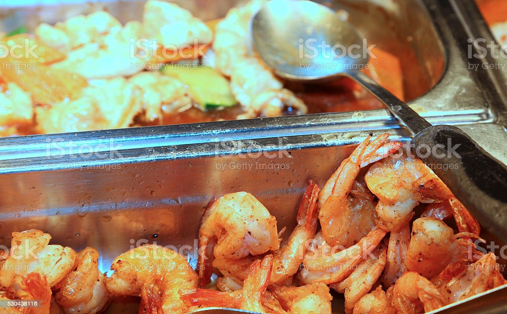 many tray with deep fried foods stock photo