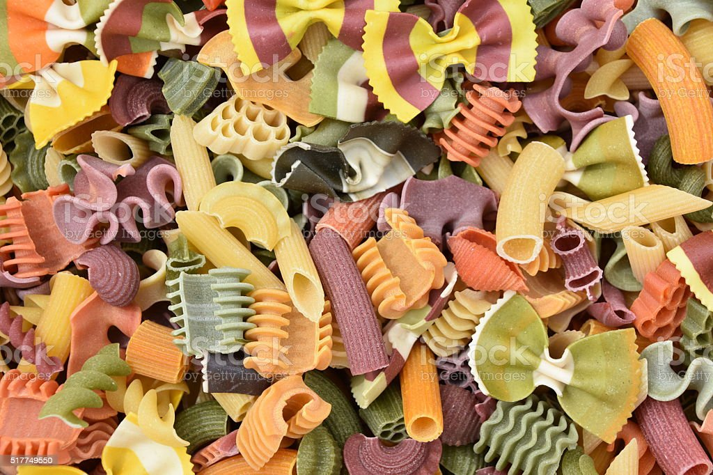 Many types of pasta composition stock photo