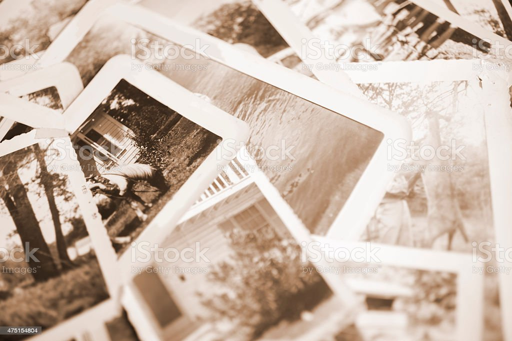Many vintage, sepia-toned photographs. Old-fashioned images from 1940s. royalty-free stock photo