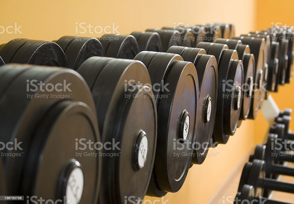 Many weights of the same design sitting in a row royalty-free stock photo