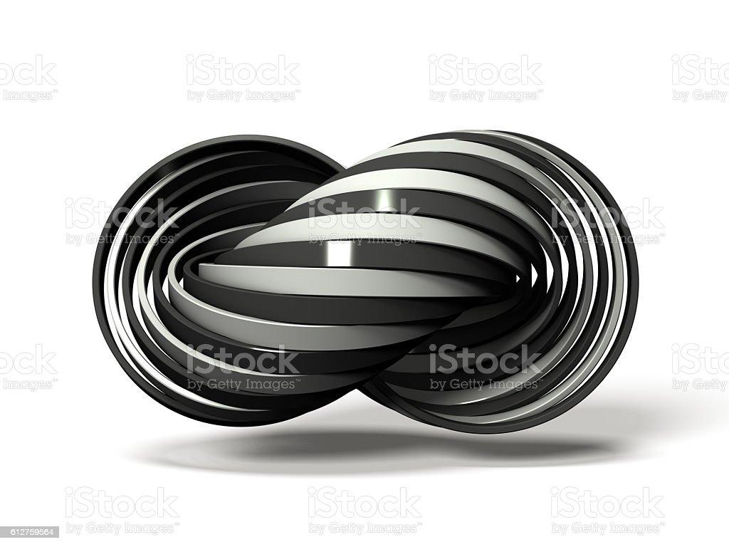 Many white and black rings overlap alternately. stock photo
