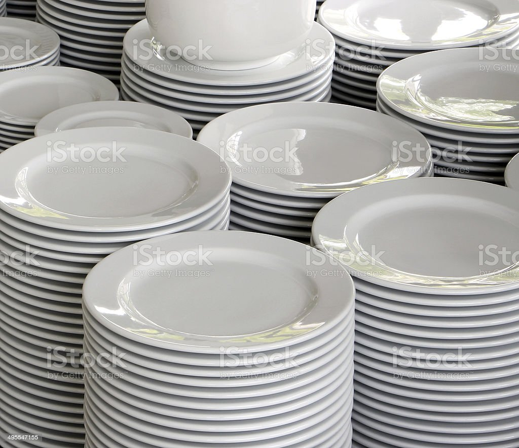 Many white bowls stock photo