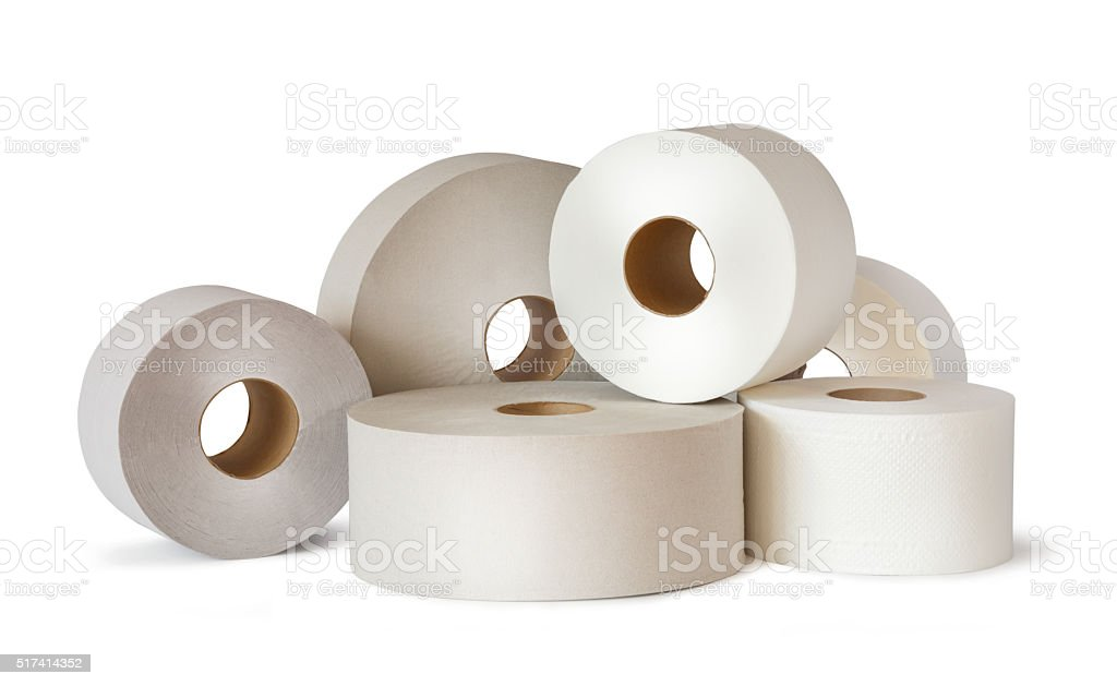Many white toilet paper rolls stock photo
