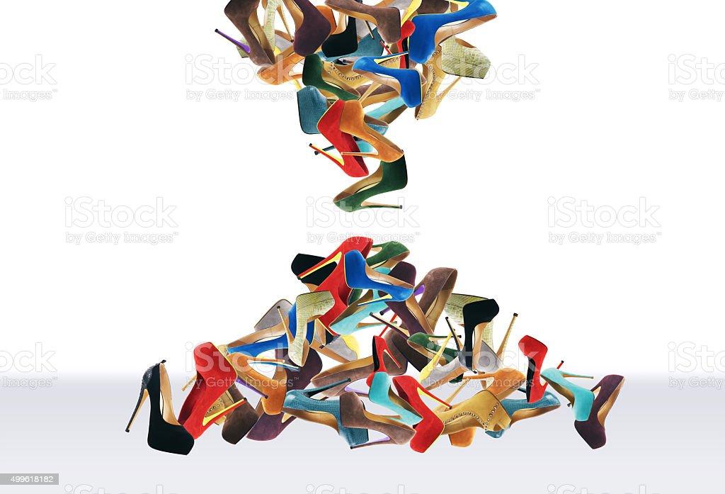 Many women's shoes stock photo