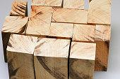 many wooden blocks