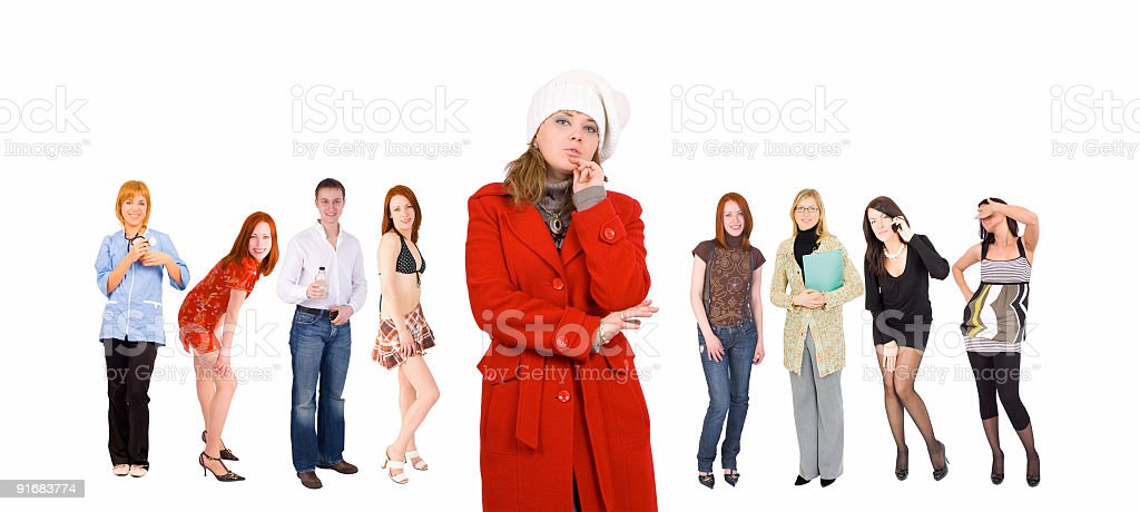 many young people -  one winter dressed girl royalty-free stock photo