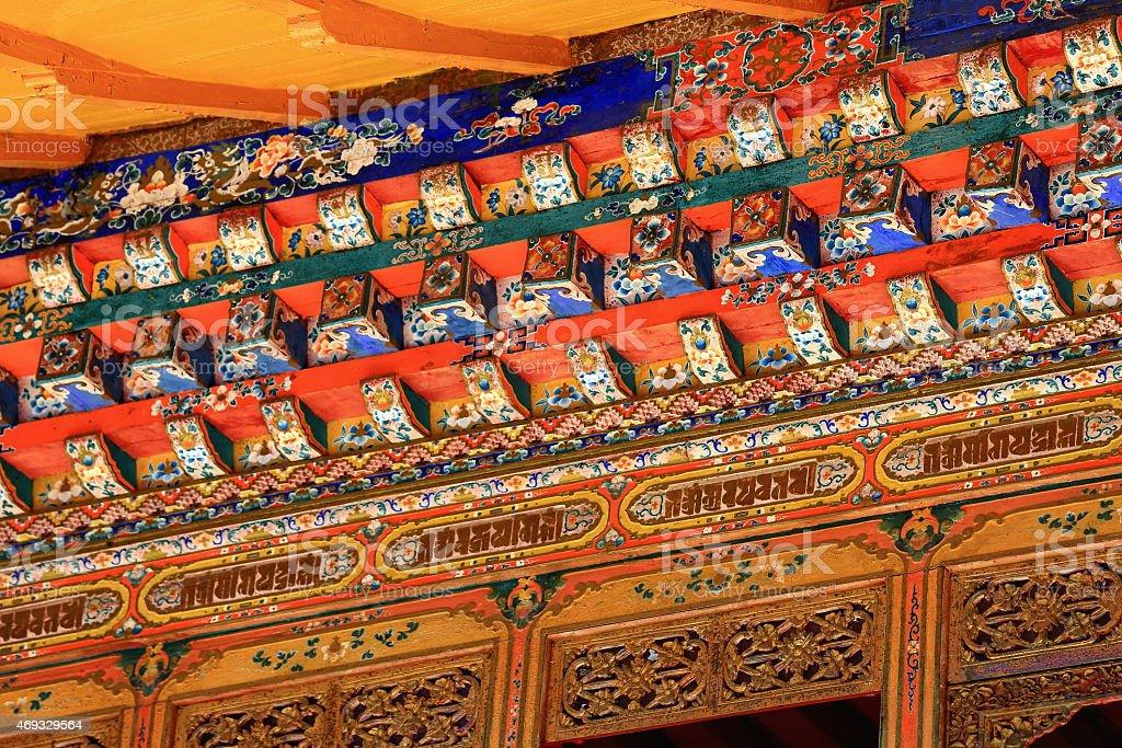 Manycolored wooden doorway. Norbulingka palace-Lhasa-Tibet. 1267 stock photo