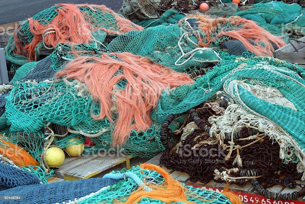 many-coloured fishing nets stock photo
