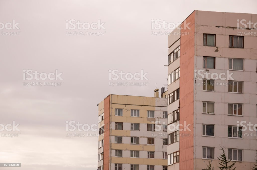 Many-storeyed houses on the passage Of the Peoples of the North city New Urengoy North of Russia. YaNAO 1 stock photo