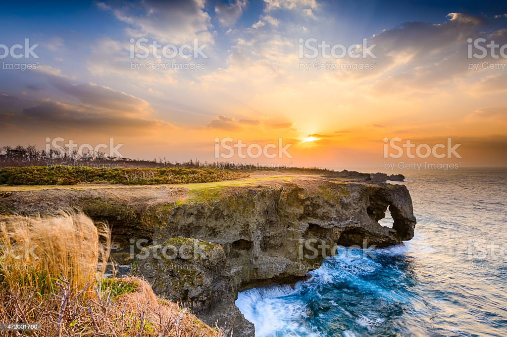 Manzamo Cape of Okinawa stock photo
