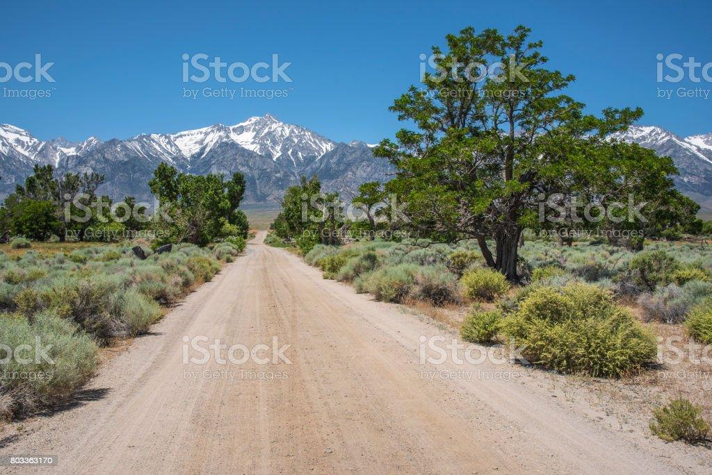Manzanar backroad stock photo