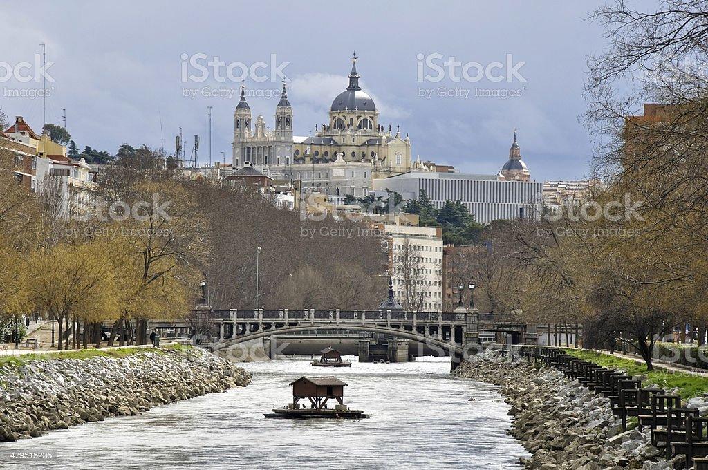 Manzanares river, Almudena cathedral as background, Madrid stock photo
