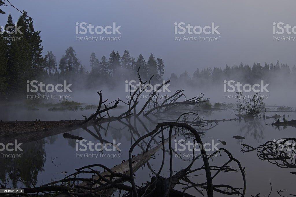 Manzanita Lake Mystic stock photo
