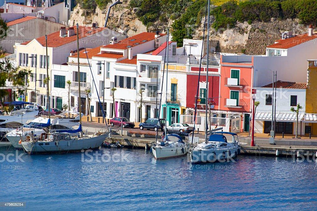 Mao Port of Mahon in Menorca at Balearic islands stock photo