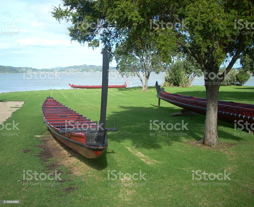 Maori Boat at Waitangi stock photo