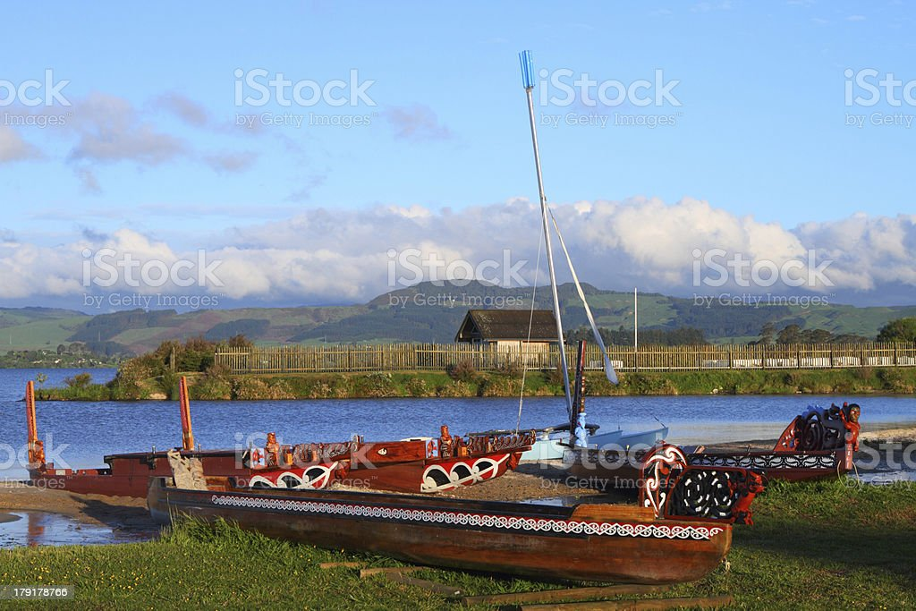 Maori boats stock photo