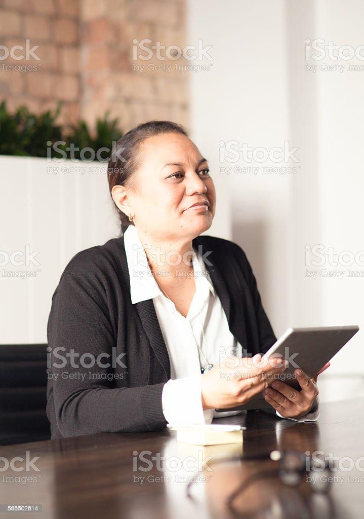 NZ Maori business woman. stock photo