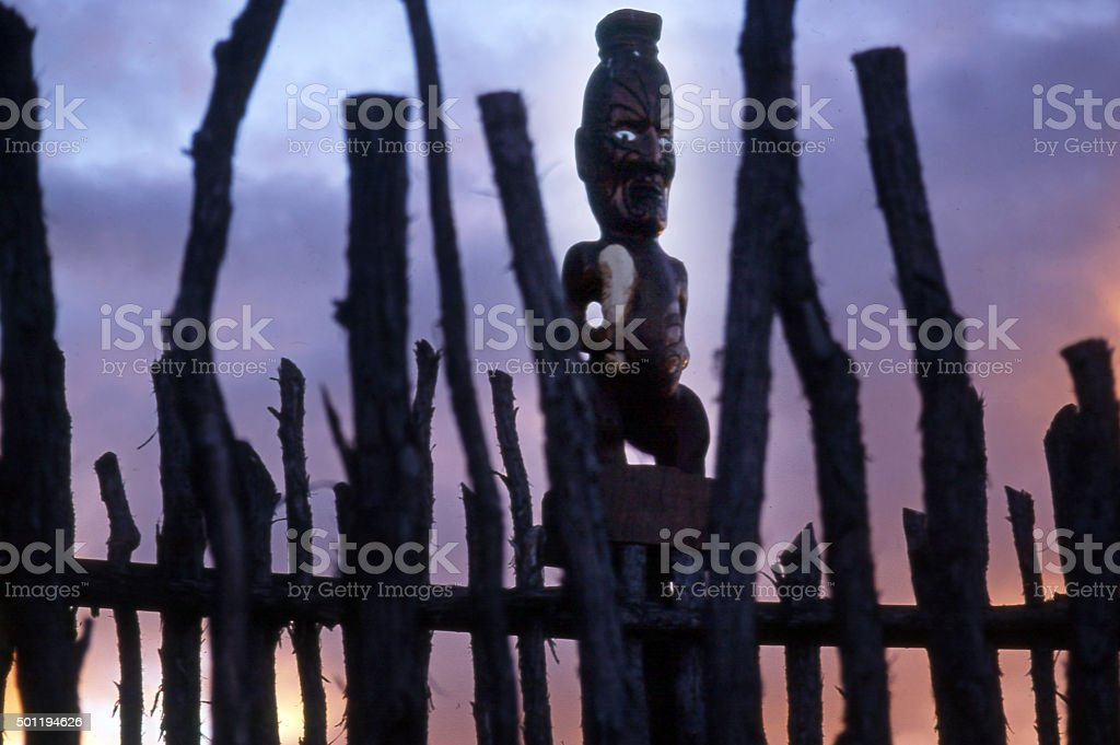 Maori Camp Fence in Rotorua New Zealand stock photo