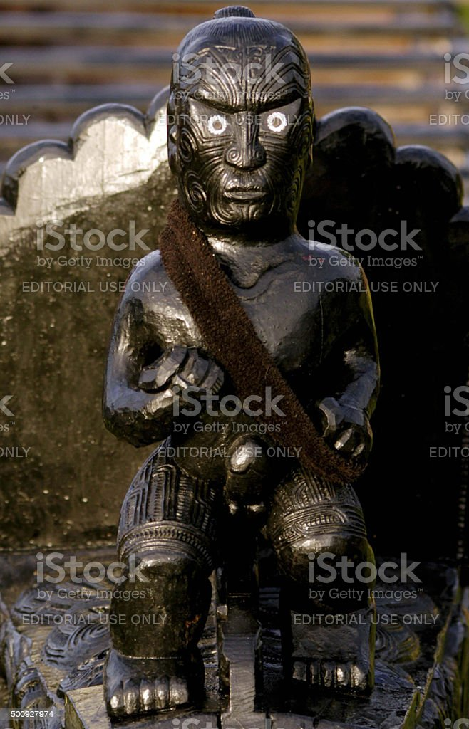 Maori Carving on a Waka Boat stock photo