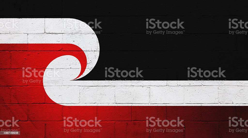 Maori Flag painted on a wall stock photo