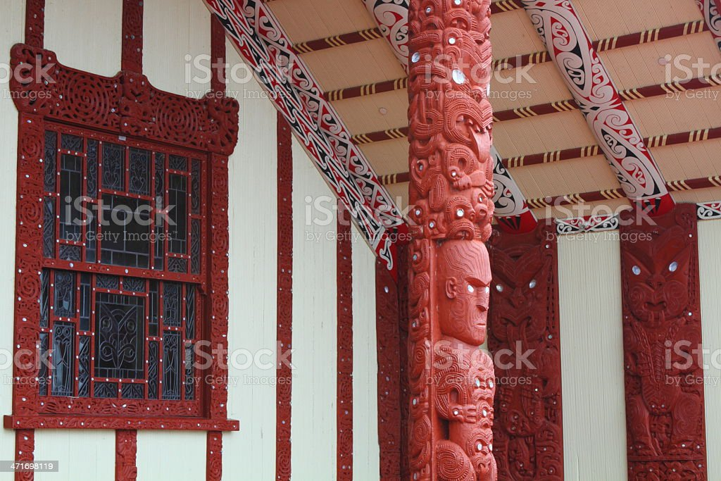 Maori house in Rotorua royalty-free stock photo