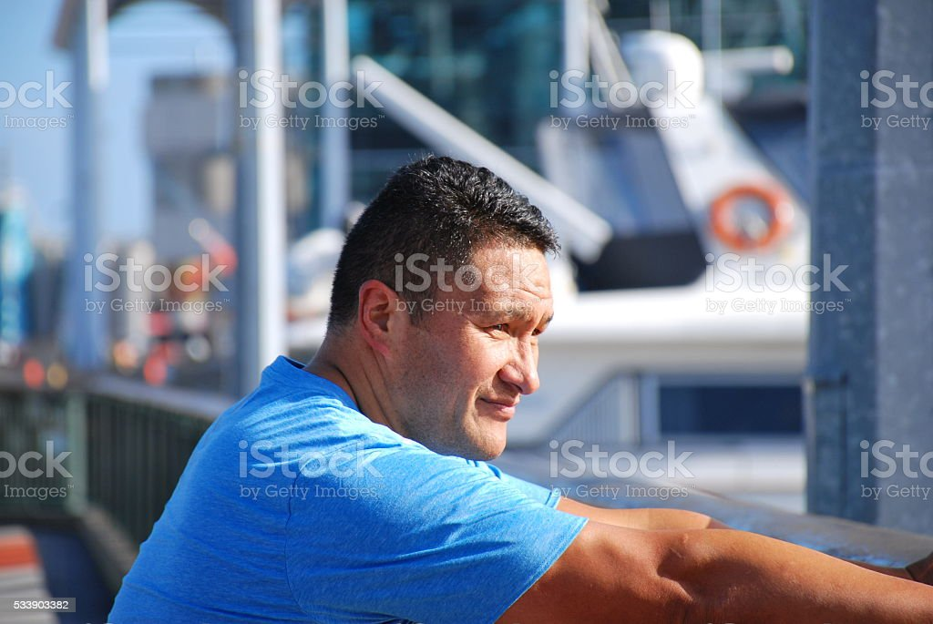 Maori Male looking at View stock photo