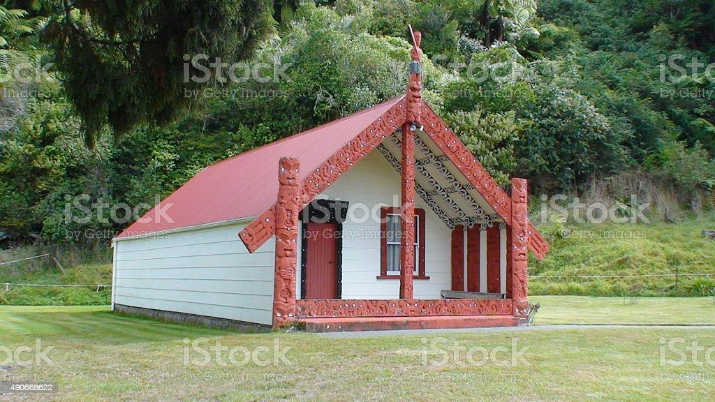 Maori marae New Zealand culture meeting house stock photo