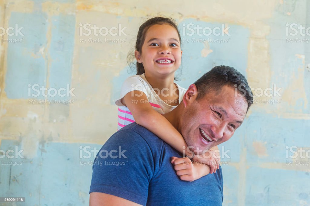 Maori Pacific Islander Father and Daughter Family Having Fun Together stock photo