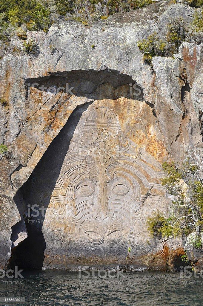 Maori Rock Carving royalty-free stock photo