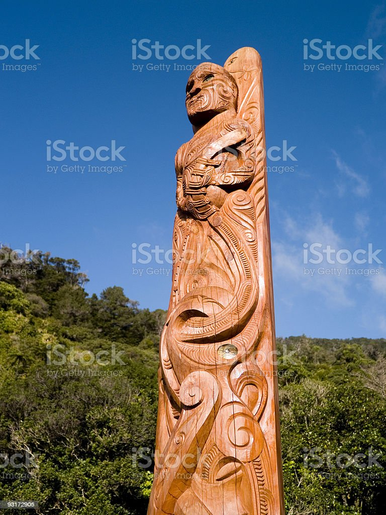 Maori Totem pole stock photo