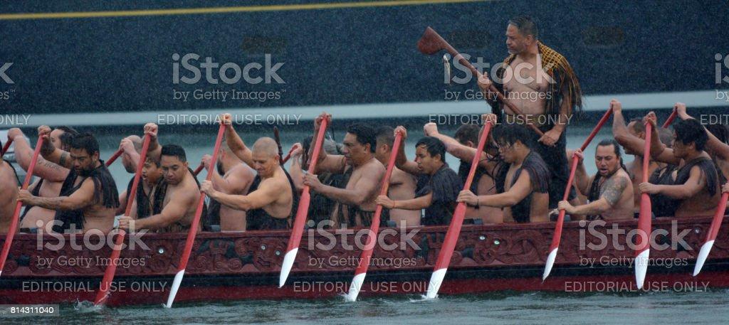 Maori waka heritage sailing in Auckland, New Zealand stock photo
