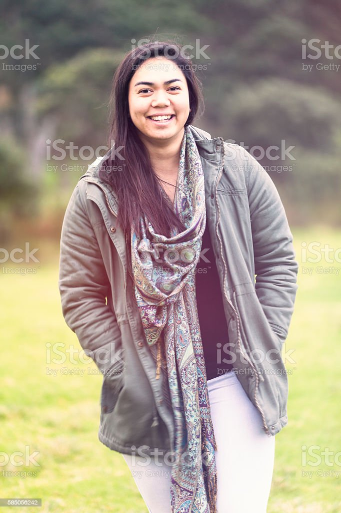 Maori woman. stock photo