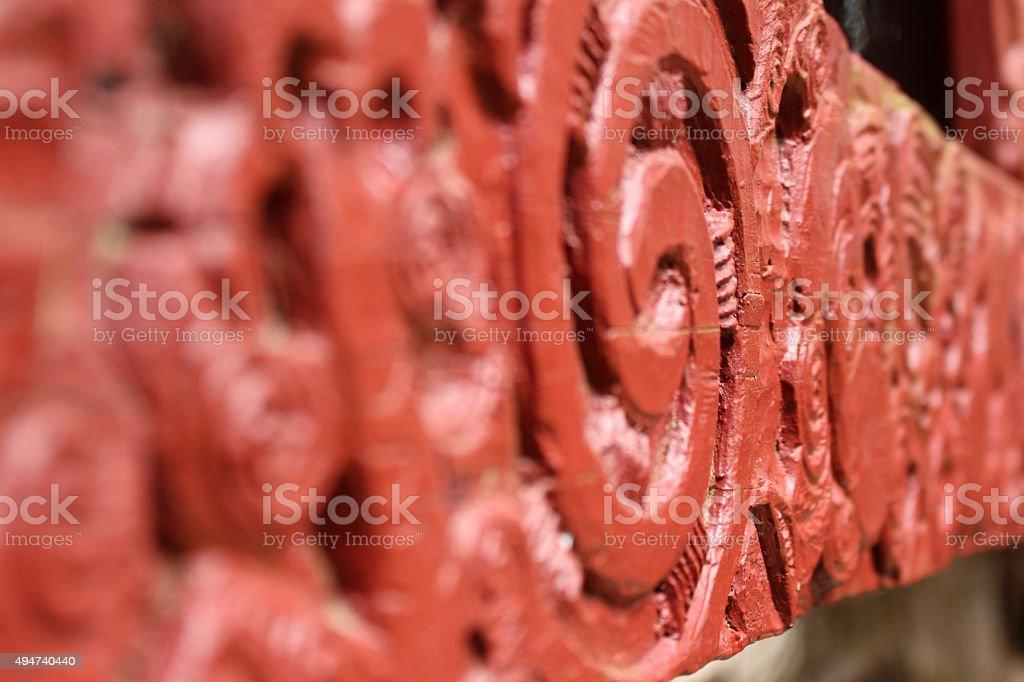 Maori wood carving stock photo