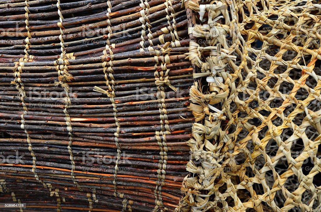 Maori wooden fishing net details stock photo