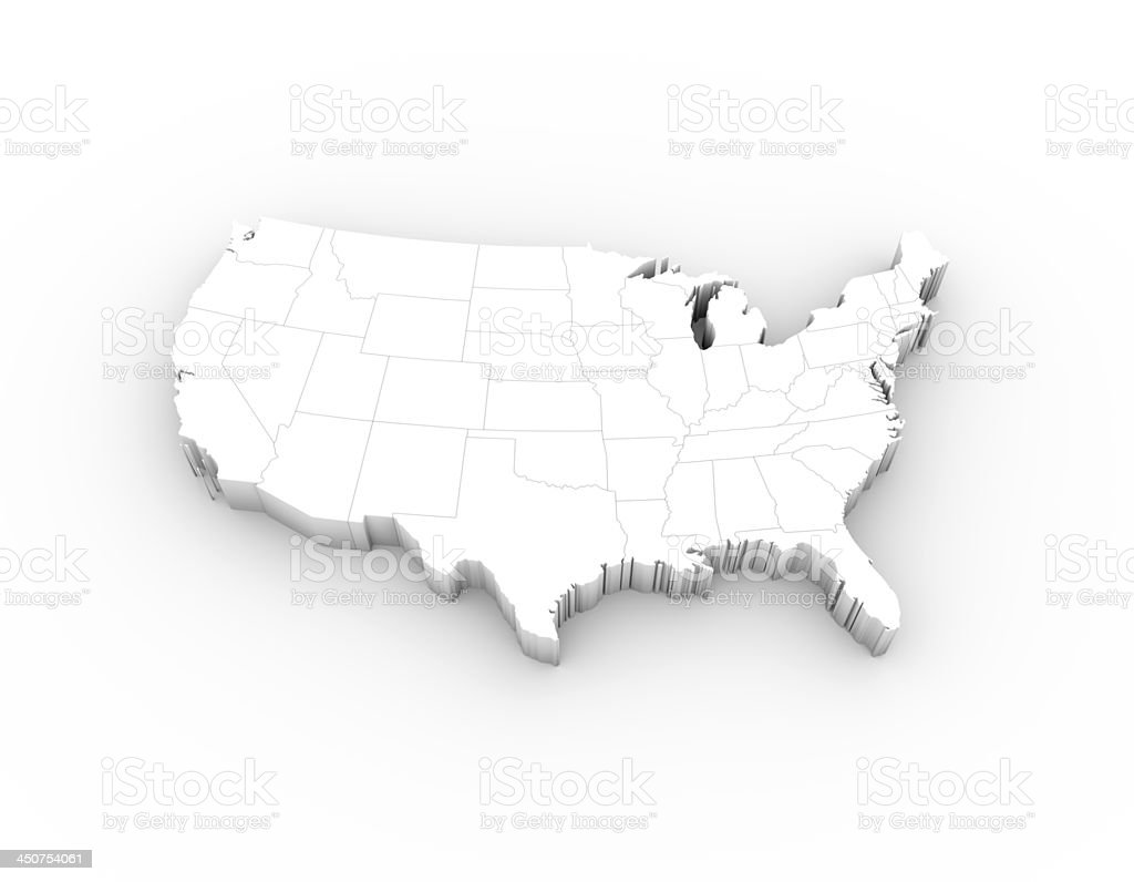 USA map 3D white with states and clipping path stock photo