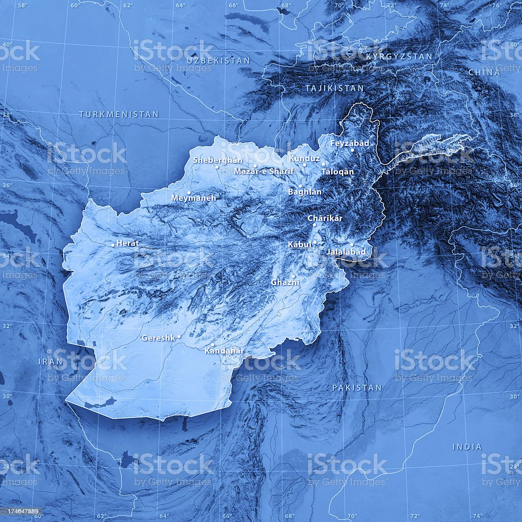 Map Afghanistan (english version) royalty-free stock photo