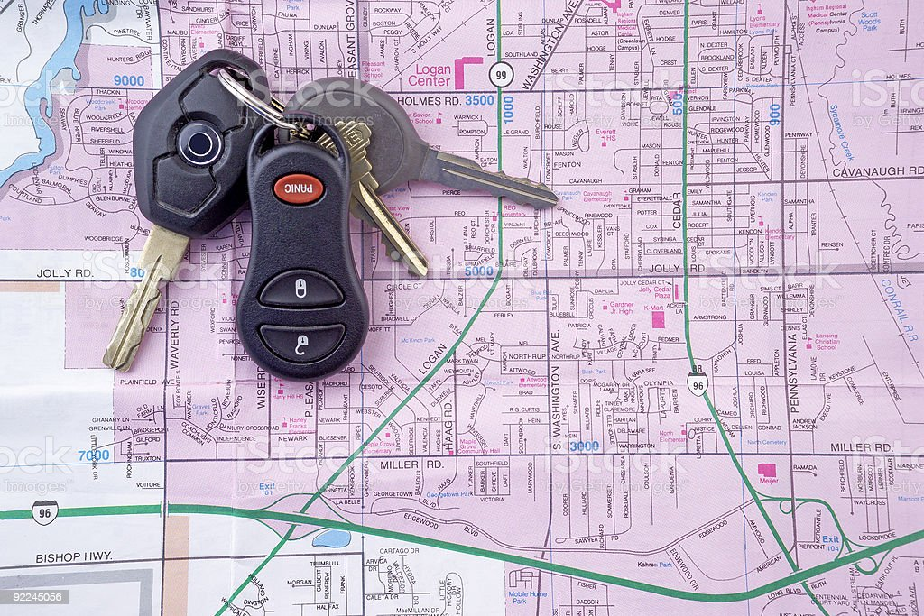 Map and Car Keys 2 royalty-free stock photo