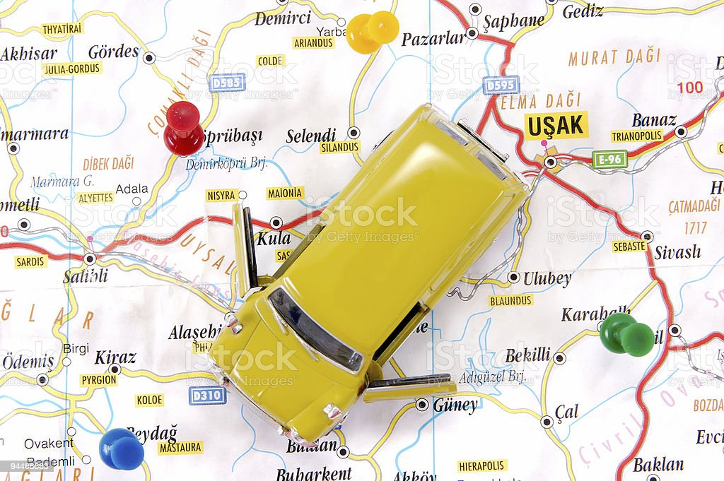 map and car royalty-free stock photo