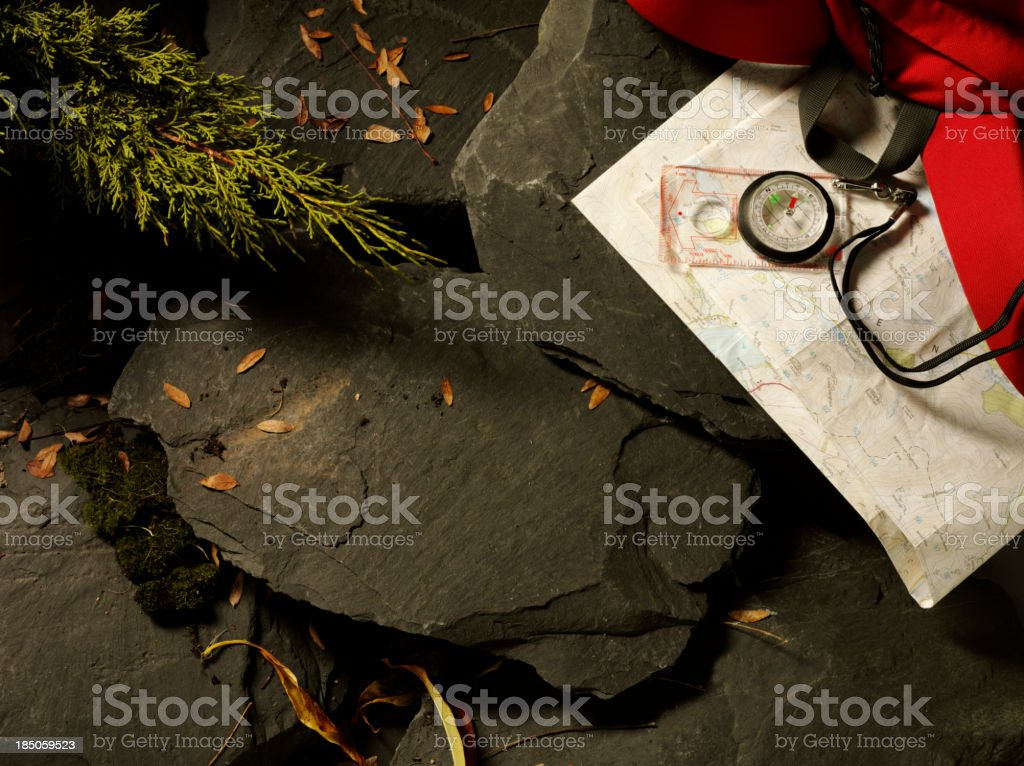 Map and Compass for Orienteering royalty-free stock photo