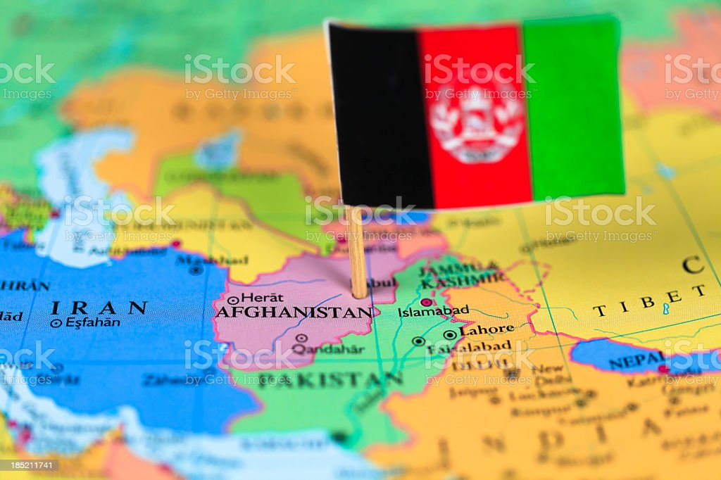 Map and flag of Afghanistan stock photo